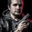 Stock Photo: Mafia, thief, armed mwith black leather jacket, dangerous