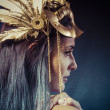 Vintage warrior woman with golden mask — Stock Photo