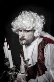 Funny, Eighteen century, gentleman rococo era wig — Stock Photo