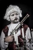 Gun, gentleman rococo era wig — Stock Photo