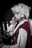 Gentleman rococo era wig — Stock Photo
