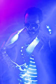 Man playing on electro guitar — Stockfoto