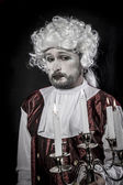 Gentleman rococo era wig, man dressed in vintage style — Stock Photo