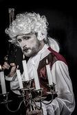 Musket, gentleman rococo era wig — Stock Photo
