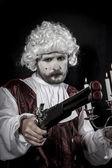 Duel between knights, gentleman rococo era wig — Stock Photo