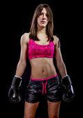 Boj, silná žena sportovec s boxerské rukavice — Stock fotografie