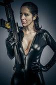 Sexy military woman posing — Foto de Stock