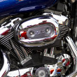 Closeup of big chromium motorcycle engine — Stock Photo #39719279