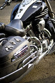 Motorbike's chromed engine. Bikes in a street — Stock Photo
