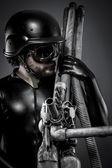 Keskin nişancı ile büyük plazma tüfeği — Stok fotoğraf