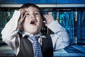 Child dressed businessman suit — Stock Photo