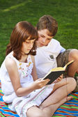 Kids reading book — Stock Photo