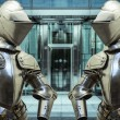 Stock Photo: Medieval armor protecting business building