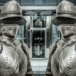 Medieval armor protecting business building — Foto Stock #41391345