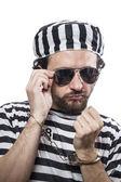 Man prisoner in prison garb — Stock Photo