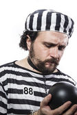 Man prisoner in prison garb — Foto Stock