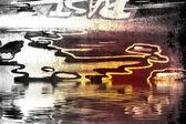 Graffiti over oude vuile muur — Stockfoto