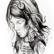 American indian woman head, sketch of tattoo — Stock Photo #42460961