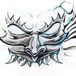 Devil mask, sketch of tattoo — Stock Photo