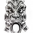 American indian totem, sketch of tattoo — Stock Photo
