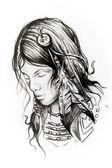 American indian woman head, sketch of tattoo — Stock Photo