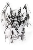 Gargoyle, sketch of tattoo — Stock Photo