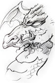 Medieval dragon sketch of tattoo — Stock Photo