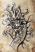 Boceto del arte del tatuaje — Foto de Stock