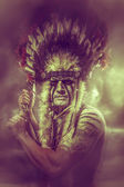 American Indian warrior — Stock Photo