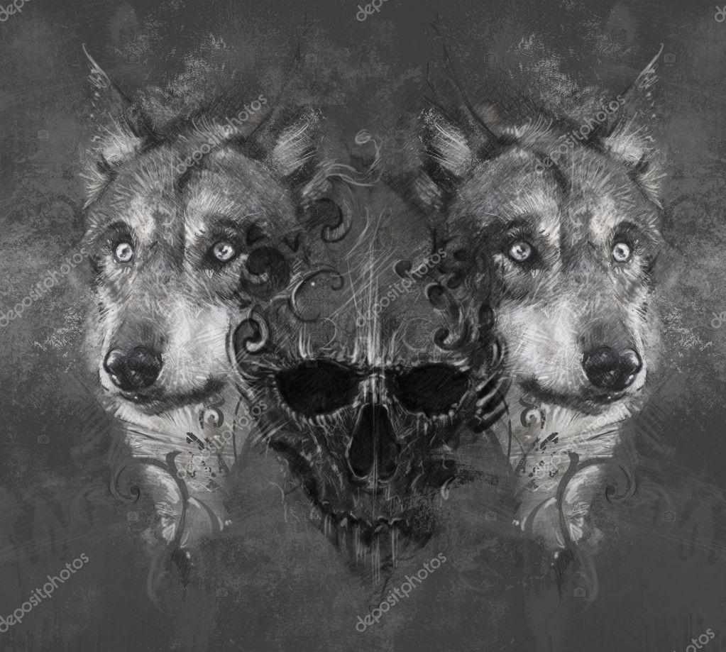 Ilustraci n de lobo con calavera foto de stock for Calavera lobo