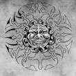 Tattoo sun face illustration — Stock Photo