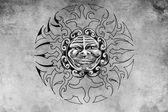 Tattoo sun face illustration — Stock Photo