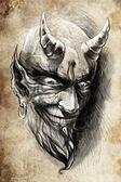 Tattoo devil hell — Stock Photo