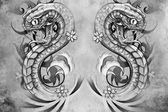 Snakes tattoo design — 图库照片