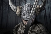 Viking warrior with helmet — Foto Stock