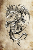 Tattoo sketch, handmade design over vintage pape — Stockfoto