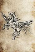 Tattoo unicorn sketch — Stockfoto