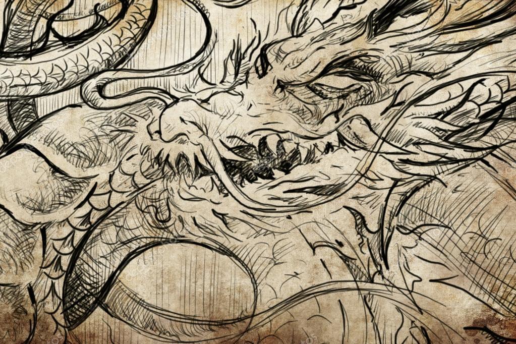 Японский дракон эскиз тату - Стоковое ...: ru.depositphotos.com/43501515/stock-photo-tattoo-japanese-dragon...