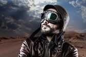 Biker with black leather jacket — Stock Photo