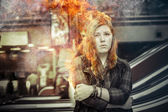 Girl on fire — Stock Photo