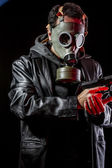Private detective with gas mask — Stock Photo