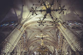 Cathedral interior, gothic style, spanish church — Stock Photo