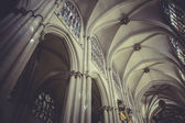 Cathedral interior, gothic style, spanish church — Foto Stock