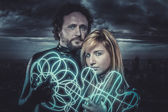 Couple of sci-fi super heroes — Stockfoto