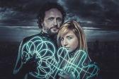 Couple of sci-fi super heroes — Foto de Stock