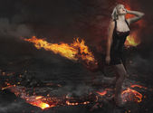 Beautiful blonde with volcano — Stock Photo