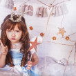Princess with magic wand - Stock Photo