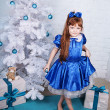 Cute girl in a blue dress under the Christmas tree — Stock Photo #14718711