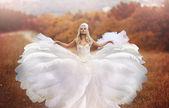 秋の夕日でポーズ女性の天使 — ストック写真