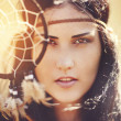 Portrait of American Indian woman - Stock Photo